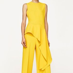 Zara Asymmetrical Flounce Sleeveless Top Yellow-S